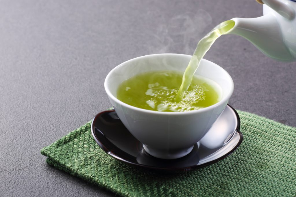 green tea poured in a glass