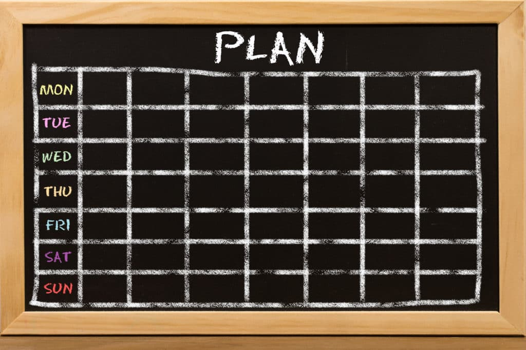 Plan schedule on potty training