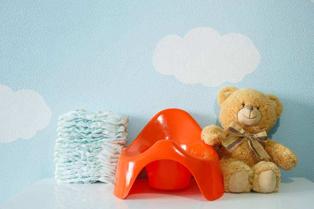 Red potty, teddy bear and diapers