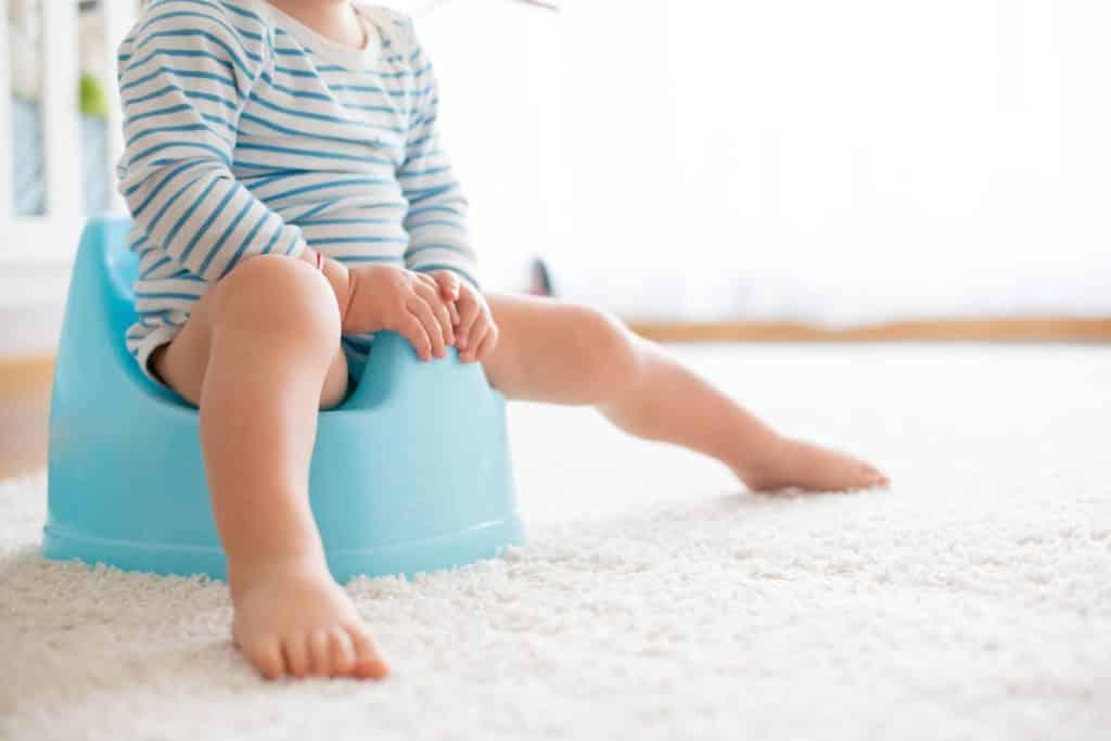A child sitting on a potty